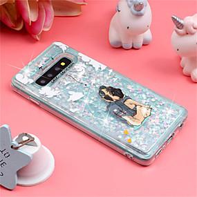voordelige Galaxy S7 Hoesjes / covers-hoesje Voor Samsung Galaxy S9 / S9 Plus / S8 Plus Schokbestendig / Stromende vloeistof / Patroon Achterkant Hond / Glitterglans Zacht TPU