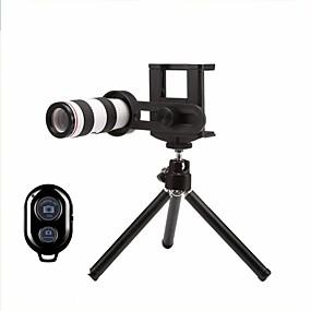 olcso Mobiltelefon kamera-Mobiltelefon Lens Hosszú gyújtótávolságú lencse üveg / Műanyag és fém / ABS + PC 12X makró 30 mm 3 m 9 ° Lencse és állvány / Kreatív / Új design