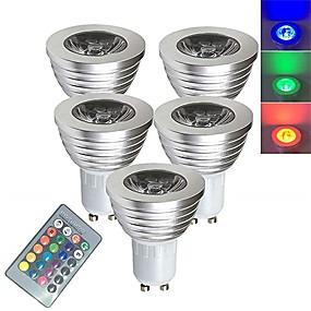olcso LED szpotlámpák-5pcs 3 W LED szpotlámpák Okos LED izzók 250 lm E14 GU10 GU5.3 1 LED gyöngyök SMD 5050 Smart Tompítható Távvezérlésű RGBW 85-265 V / RoHs
