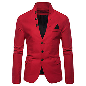 cheap Party Night-Men's Blazer, Solid Colored Stand Cotton / Polyester Red / Navy Blue / Khaki / Slim