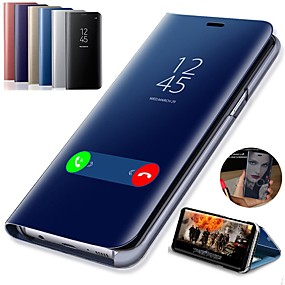 voordelige Galaxy S9 Plus Hoesjes / covers-hoesje Voor Samsung Galaxy S9 / S9 Plus / S8 Plus met standaard / Beplating / Spiegel Volledig hoesje Effen Hard PU-nahka