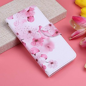 voordelige Galaxy J5(2017) Hoesjes / covers-hoesje Voor Samsung Galaxy J7 (2017) / J6 / J6 (2018) Portemonnee / Kaarthouder / met standaard Volledig hoesje Bloem Hard PU-nahka