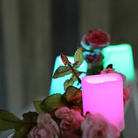 povoljno LED noćna rasvjeta-24pcs LED noćno svjetlo / Plamene svijeće RGB + Topla Gumb Baterija pogonjena