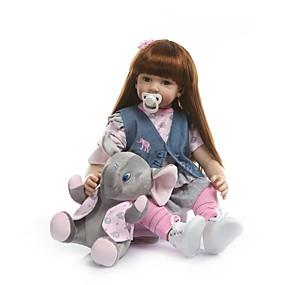 olcso Játékok & hobbi-NPKCOLLECTION NPK DOLL Reborn Dolls Lány babák 24 hüvelyk Vinil - élethű Ajándék Mesterséges beültetés barna szemek Gyerek Lány Játékok Ajándék