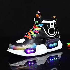 povoljno Dječje cipele-Dječaci / Djevojčice Udobne cipele / Svjetleće tenisice PU Sneakers Mala djeca (4-7s) / Velika djeca (7 godina +) Vezanje / Kopčanje na kukicu / LED Crn / Plava Proljeće ljeto