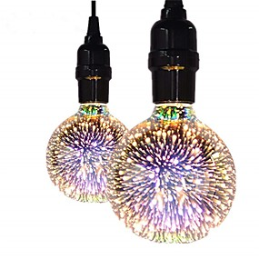 hesapli LED Filaman Ampuller-2pcs 5 W LED Filaman Ampuller 450 lm E26 / E27 G95 35 LED Boncuklar COB Dekorotif Noel Düğün Dekorasyonu 3d havai fişek Sıcak Beyaz 85-265 V / RoHs