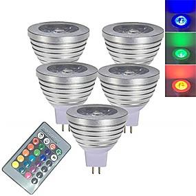 hesapli LED Akıllı Ampuler-5pcs 3 W LED Spot Işıkları LED Akıllı Ampuller 250 lm MR16 1 LED Boncuklar SMD 5050 Smart Kısılabilir Uzaktan Kumandalı RGBW 12 V / RoHs
