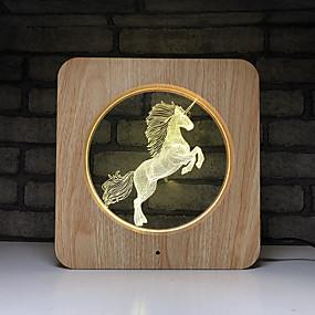 رخيصةأون مصابيح ليد مبتكرة-1PC Unicorn الصمام ليلة الخفيفة تغيير اللون بطاريات آا بالطاقة / USB كارتون / خلاق / سهل الحمل <=36 V
