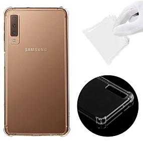 Недорогие Чехлы и кейсы для Galaxy A5(2016)-Кейс для Назначение SSamsung Galaxy A6 (2018) / A6+ (2018) / Galaxy A7(2018) Защита от удара / Прозрачный Кейс на заднюю панель Однотонный Мягкий ТПУ