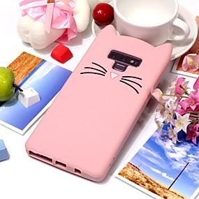 Недорогие Чехлы и кейсы для Galaxy Note 8-Кейс для Назначение SSamsung Galaxy Note 9 / Note 8 С узором Кейс на заднюю панель Кот / 3D в мультяшном стиле Мягкий Силикон