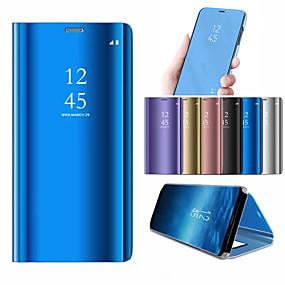 voordelige Galaxy S6 Edge Plus Hoesjes / covers-hoesje Voor Samsung Galaxy S9 / S9 Plus / S8 Plus met standaard / Beplating / Spiegel Volledig hoesje Effen Hard PC