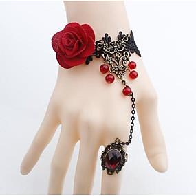 billige Ringarmbånd-Dame Ringarmbånd Vintage Stil Blomst Vintage Bohemisk Blonde Armbånd Smykker Rød Til Fest Gade