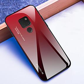 Недорогие Чехлы и кейсы для Huawei Mate-Кейс для Назначение Huawei Mate 10 / Mate 10 pro / Huawei Mate 20 pro Защита от удара Кейс на заднюю панель Градиент цвета Твердый Закаленное стекло