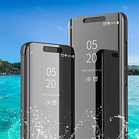 voordelige Galaxy S7 Hoesjes / covers-hoesje Voor Samsung Galaxy S9 / S9 Plus / S8 Plus met standaard / Beplating / Spiegel Volledig hoesje Effen Zacht PU-nahka