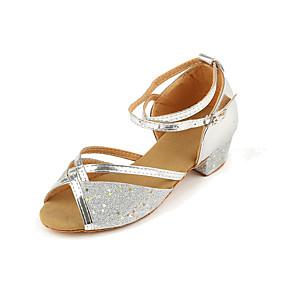 cheap Kids' Shoes-Girls' Dance Shoes PU Latin Shoes Heel Thick Heel Gold / Silver / Fuchsia / Performance / Practice