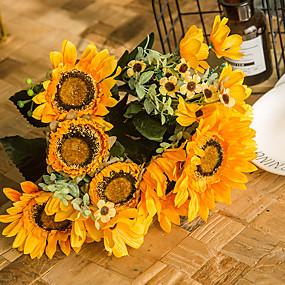 رخيصةأون أزهار اصطناعية-زهور اصطناعية 1 فرع كلاسيكي حفلة النمط الرعوي عباد الشمس الزهور الخالدة أزهار الطاولة