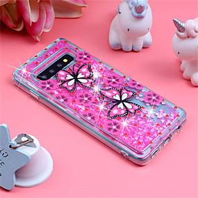 voordelige Galaxy S7 Edge Hoesjes / covers-hoesje Voor Samsung Galaxy S9 / S9 Plus / S8 Plus Schokbestendig / Stromende vloeistof / Patroon Achterkant Vlinder / Glitterglans Zacht TPU