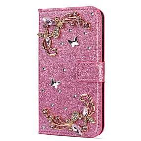 voordelige Galaxy S7 Edge Hoesjes / covers-hoesje Voor Samsung Galaxy S9 / S9 Plus / S8 Plus Portemonnee / Kaarthouder / Strass Volledig hoesje Glitterglans / Strass / Bloem Hard PU-nahka