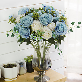 رخيصةأون أزهار اصطناعية-زهور اصطناعية 1 فرع كلاسيكي التقليدية / الكلاسيكية أوروبي الورود الزهور الخالدة أزهار الطاولة