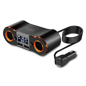 Недорогие Автомобильные зарядные устройства-Ziqiao автомобильный прикуриватель двойной порт USB 2 прикуриватель адаптер питания светодиодный цифровой дисплей
