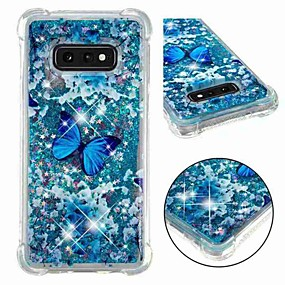 voordelige Galaxy S7 Edge Hoesjes / covers-hoesje Voor Samsung Galaxy S9 / S9 Plus / S8 Plus Schokbestendig / Stromende vloeistof / Transparant Achterkant Vlinder / Glitterglans Zacht TPU