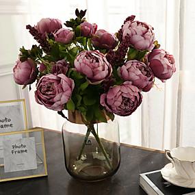 رخيصةأون أزهار اصطناعية-زهور اصطناعية 1 فرع كلاسيكي عتيق أوروبي الفاوانيا أزهار الطاولة