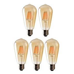 olcso LED izzólámpák-5pcs 6 W Izzószálas LED lámpák 540 lm E26 / E27 ST64 6 LED gyöngyök COB Tompítható Meleg fehér 220-240 V 110-130 V / RoHs