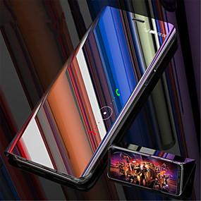 voordelige Galaxy S7 Edge Hoesjes / covers-hoesje Voor Samsung Galaxy S9 / S9 Plus / S8 Plus met standaard / Beplating / Spiegel Volledig hoesje Effen Hard Muovi