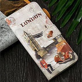 Недорогие Чехлы и кейсы для Galaxy J5(2016)-Кейс для Назначение SSamsung Galaxy J7 (2017) / J6 (2018) / J6 Plus Кошелек / со стендом / Флип Чехол Вид на город Твердый Кожа PU