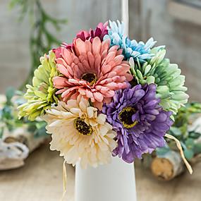 رخيصةأون أزهار اصطناعية-زهور اصطناعية 1 فرع كلاسيكي دعامات النمط الرعوي أقحوان الزهور الخالدة أزهار الطاولة