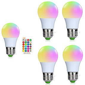 olcso LED okos izzók-5pcs 3 W Okos LED izzók 200-250 lm E26 / E27 1 LED gyöngyök SMD 5050 Smart Tompítható Távvezérlésű RGBW 85-265 V / RoHs / FCC