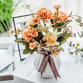 رخيصةأون أزهار اصطناعية-زهور اصطناعية 5 فرع كلاسيكي تقليدي النمط الرعوي قرنفل الزهور الخالدة أزهار الطاولة