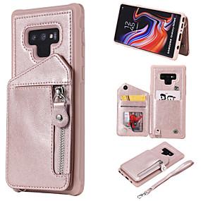 Недорогие Чехлы и кейсы для Galaxy Note 8-Кейс для Назначение SSamsung Galaxy Note 9 / Note 8 Кошелек / Бумажник для карт / Защита от удара Кейс на заднюю панель Однотонный Твердый Кожа PU