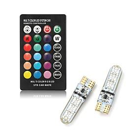 olcso LED okos izzók-2db t10 vezetett autó kupola olvasó könnyű autók éklámpa rgb led izzó távvezérlővel