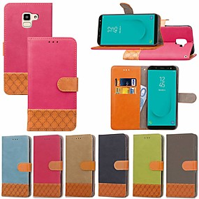 voordelige Galaxy J5(2017) Hoesjes / covers-hoesje Voor Samsung Galaxy J7 Prime / J7 (2017) / J7 (2018) Kaarthouder / met standaard / Flip Volledig hoesje Effen / Geometrisch patroon Hard tekstiili