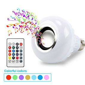 olcso LED okos izzók-okos e27 rgb bluetooth hangszóró led izzó fény 7w zene lejátszása dimmable vezeték nélküli led lámpa 24 gombos távirányítóval