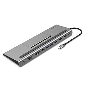 olcso Számítógépes periferiális egységek-LENTION CB-TP-C95HEAVDCR-GRY USB 3.0 Type C to HDMI 2.0 / Kijelző port / VGA / Thunderbolt / USB 2.0 USB Hub 11 Portok Nagy sebesség / Támogatás tápellátás funkció