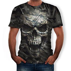 povoljno MEN SALE-Majica s rukavima Muškarci Pamuk 3D / Lubanje / kamuflaža Okrugli izrez Print Vojska Green