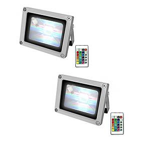 povoljno LED reflektori-2pcs 10 W LED reflektori Vodootporno / Daljinski upravljano / Zatamnjen RGB + Bijela 85-265 V Vanjska rasvjeta / Bazen / Dvorište 1 LED zrnca