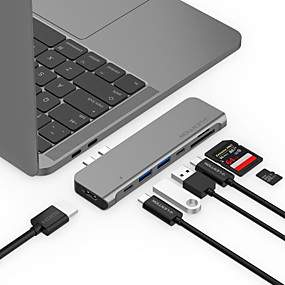 olcso Számítógépes periferiális egységek-LENTION CB-TP-CS64THCR USB 3.0 Type C to HDMI 2.0 / Thunderbolt / USB 3.0 / USB 3.0 Type C / SD-kártya USB Hub 9 Portok Nagy sebesség / Az olvasó (k) / Támogatás tápellátás funkció / Támogatás