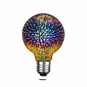 olcso LED gömbbúrás izzók-1db g80 4w vezetett 3d színes csillag tűzijáték izzó (2200k) e26 / e27 izzólámpák alap edison izzó fény nyaraló bár díszítés többszínű led lámpa 220v