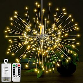 olcso Otthon & kert-0,3 m-es karácsonyi fények 150 LED meleg fehér / rgb tűzijáték könnyű kreatív / új dizájn / party akkumulátorok 6db-os