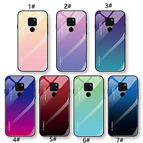 Недорогие Чехлы и кейсы для Huawei Mate-Кейс для Назначение Huawei Huawei Nova 3i / Huawei Nova 4 / Mate 10 lite Ультратонкий Кейс на заднюю панель Градиент цвета Твердый Закаленное стекло
