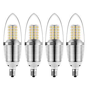 ieftine Becuri LED Lumânare-4 buc 12 W Becuri LED Lumânare 1200 lm E12 72 LED-uri de margele SMD 2835 Crăciun decor de nunta Alb Cald Alb Rece 85-265 V
