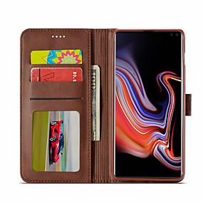 voordelige Galaxy S7 Edge Hoesjes / covers-hoesje Voor Samsung Galaxy S9 / S9 Plus / S8 Plus Kaarthouder / met standaard / Magnetisch Volledig hoesje Effen Hard PU-nahka