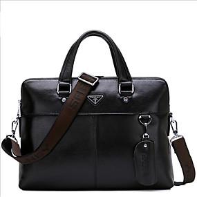 povoljno Muške torbe-Muškarci Patent-zatvarač Kravlja koža Aktovka Crn / Braon