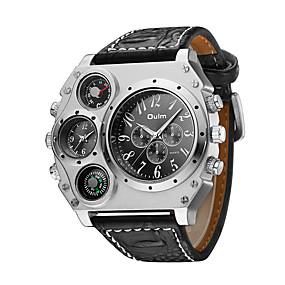 Недорогие Фирменные часы-Oulm Муж. Армейские часы Наручные часы Авиационные часы Кварцевый Японский кварц Крупногабаритные Кожа Черный / Коричневый Термометр С двумя часовыми поясами Cool Аналоговый Steampunk - / Два года