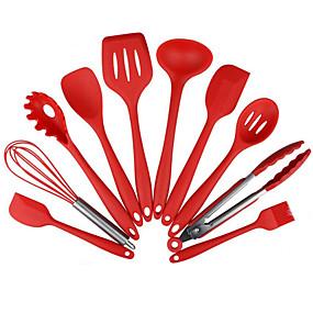 رخيصةأون المطبخ و السفرة-10 قطع غير عصا أدوات المطبخ سيليكون مقاومة للحرارة المطبخ أواني الطبخ الخبز أداة مجموعات أداة