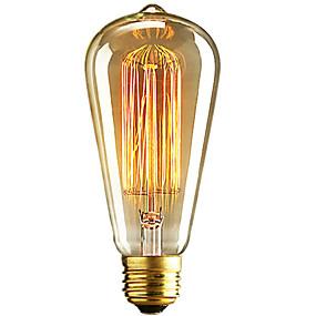 olcso Hagyományos izzó-1db 40 W E26 / E27 ST64 Meleg fehér 2300 k Retro / Tompítható / Dekoratív Izzólámpa Vintage Edison izzó 220-240 V