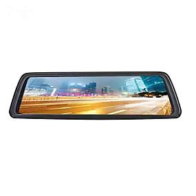 voordelige Auto-elektronica-4g full screen streaming media auto dvr 140 graden groothoek 10 inch ips dash cam met wifi / gps / nachtzicht auto recorder